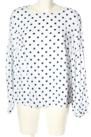 H&M L.O.G.G. Langarm-Bluse weiß-blau Punktemuster Casual-Look