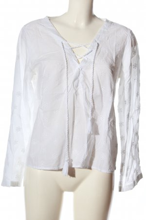 H&M L.O.G.G. Langarm-Bluse weiß Allover-Druck Casual-Look