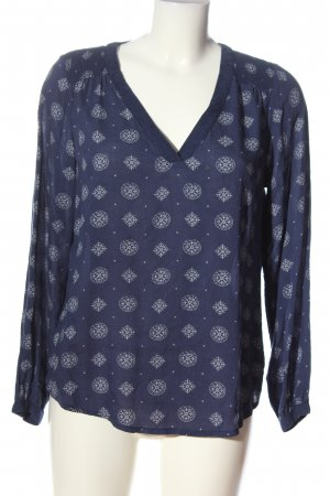 H&M L.O.G.G. Langarm-Bluse blau-weiß grafisches Muster Casual-Look