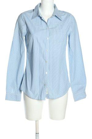 H&M L.O.G.G. Langarmhemd weiß-blau Allover-Druck Casual-Look