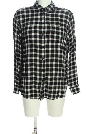 H&M L.O.G.G. Langarmhemd schwarz-weiß Karomuster Casual-Look