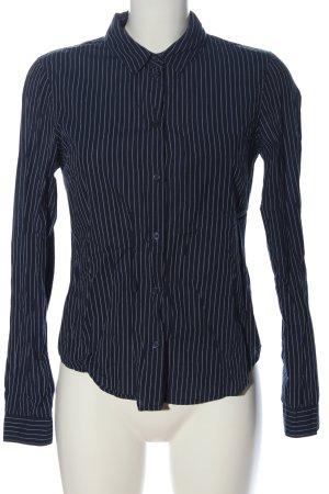 H&M L.O.G.G. Langarmhemd blau-weiß Allover-Druck Business-Look