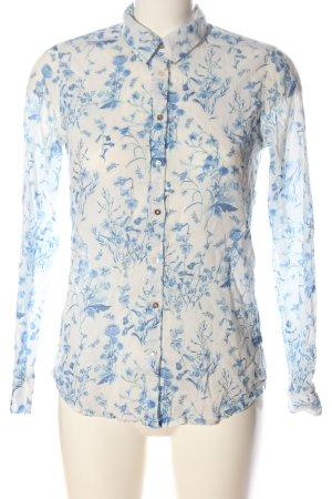 H&M L.O.G.G. Langarmhemd weiß-blau Allover-Druck Business-Look
