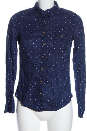 H&M L.O.G.G. Langarmhemd blau-weiß Allover-Druck Elegant