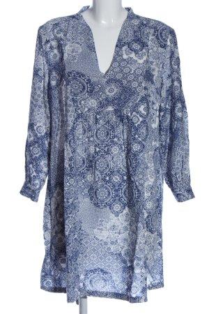 H&M L.O.G.G. Langarmkleid blau-weiß abstraktes Muster Casual-Look