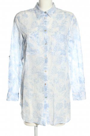 H&M L.O.G.G. Long-Bluse weiß-blau Allover-Druck Business-Look