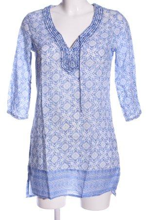 H&M L.O.G.G. Long-Bluse weiß-blau Allover-Druck Casual-Look