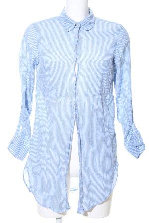 H&M L.O.G.G. Lange blouse blauw-wit gestreept patroon zakelijke stijl