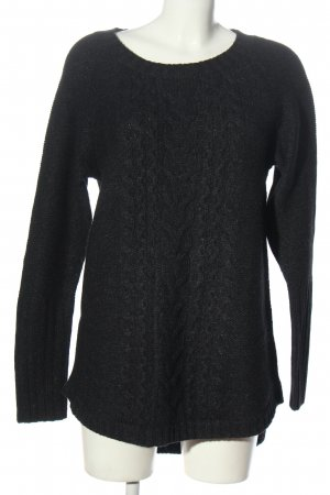 H&M L.O.G.G. Longpullover schwarz Zopfmuster Casual-Look