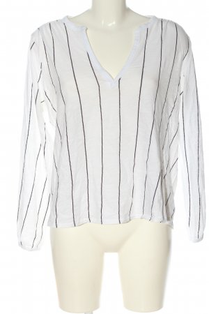 H&M L.O.G.G. Langarm-Bluse weiß-schwarz Allover-Druck Casual-Look
