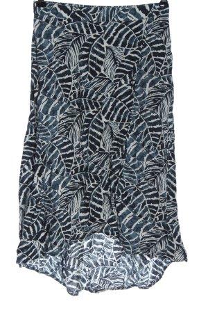 H&M L.O.G.G. Midirock weiß-blau abstraktes Muster Elegant