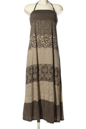 H&M L.O.G.G. Vestido de cuello Halter marrón-crema estampado floral look casual