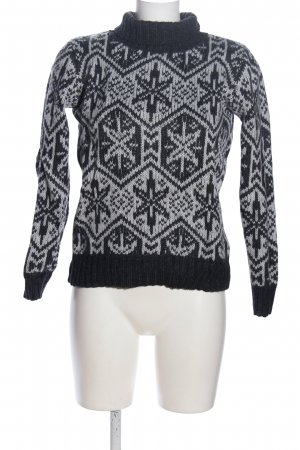H&M L.O.G.G. Norwegian Sweater light grey-black allover print casual look