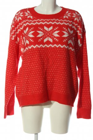 H&M L.O.G.G. Norwegerpullover rot-weiß grafisches Muster Casual-Look