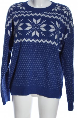 H&M L.O.G.G. Norwegian Sweater blue-white graphic pattern casual look