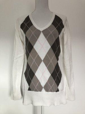 H&M L.O.G.G. Pullover Pulli Karo Muster weiß braun beige