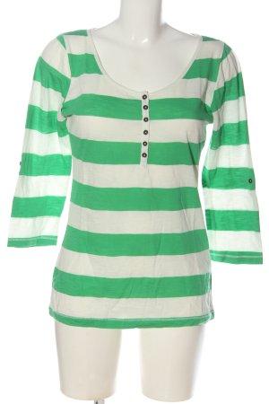 H&M L.O.G.G. Ringelshirt weiß-grün Streifenmuster Casual-Look