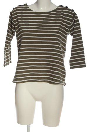 H&M L.O.G.G. Koszulka w paski khaki-biały Wzór w paski W stylu casual