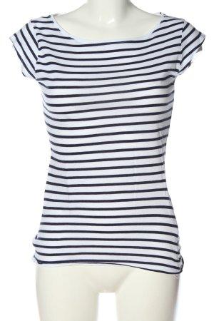 H&M L.O.G.G. Koszulka w paski biały-niebieski Wzór w paski Elegancki
