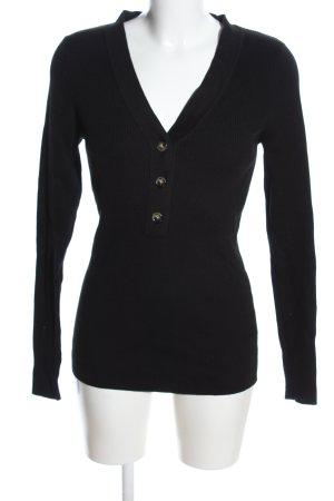 H&M L.O.G.G. Prążkowana koszulka czarny W stylu casual