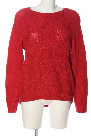 H&M L.O.G.G. Rundhalspullover rot Zopfmuster Casual-Look