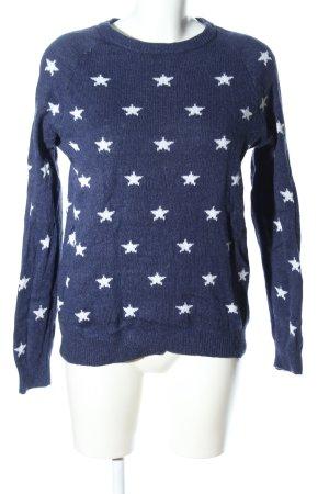 H&M L.O.G.G. Rundhalspullover blau-weiß Allover-Druck Casual-Look