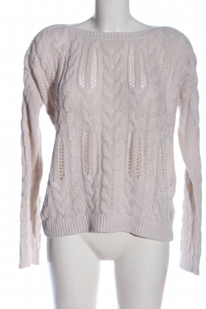H&M L.O.G.G. Rundhalspullover weiß Zopfmuster Casual-Look