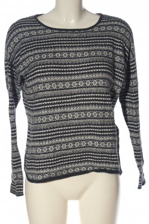 H&M L.O.G.G. Rundhalspullover schwarz-weiß grafisches Muster Casual-Look