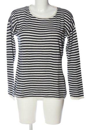H&M L.O.G.G. Rundhalspullover schwarz-weiß Streifenmuster Casual-Look