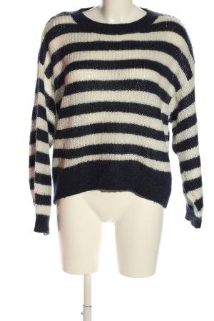 H&M L.O.G.G. Rundhalspullover weiß-schwarz Streifenmuster Casual-Look