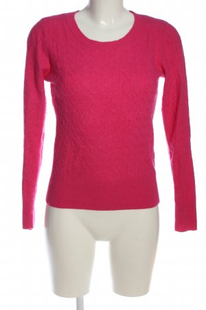 H&M L.O.G.G. Rundhalspullover pink Zopfmuster Casual-Look
