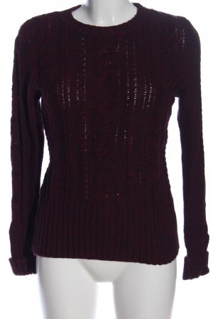 H&M L.O.G.G. Rundhalspullover rot-blau Zopfmuster Casual-Look