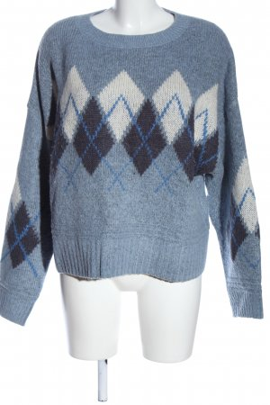 H&M L.O.G.G. Rundhalspullover blau-weiß grafisches Muster Casual-Look