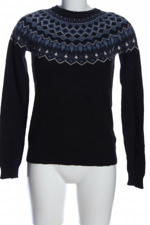 H&M L.O.G.G. Rundhalspullover schwarz-blau grafisches Muster Casual-Look