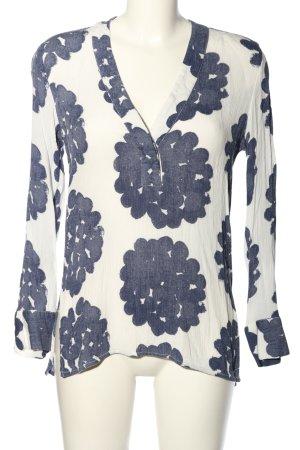 H&M L.O.G.G. Schlupf-Bluse weiß-blau grafisches Muster Casual-Look