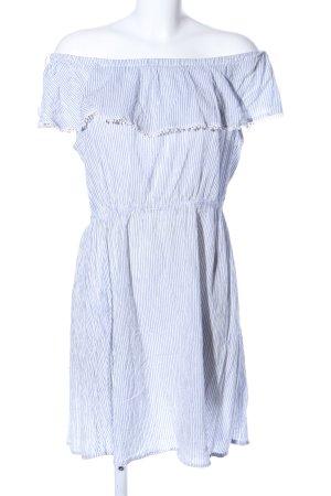 H&M L.O.G.G. schulterfreies Kleid blau-weiß Streifenmuster Casual-Look