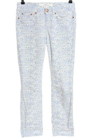 H&M L.O.G.G. Skinny Jeans weiß-blau Blumenmuster Casual-Look