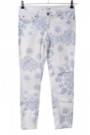 H&M L.O.G.G. Slim Jeans weiß-blau abstraktes Muster Casual-Look