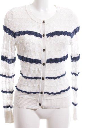 H&M L.O.G.G. Strickjacke weiß-blau Streifenmuster Casual-Look