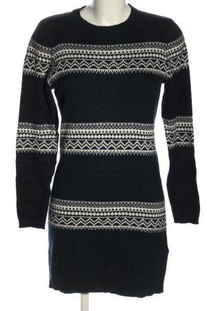 H&M L.O.G.G. Strickkleid schwarz-weiß grafisches Muster Casual-Look