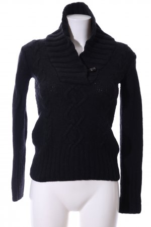 H&M L.O.G.G. Strickpullover schwarz Zopfmuster Casual-Look