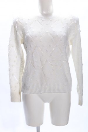 H&M L.O.G.G. Strickpullover weiß Zopfmuster Casual-Look