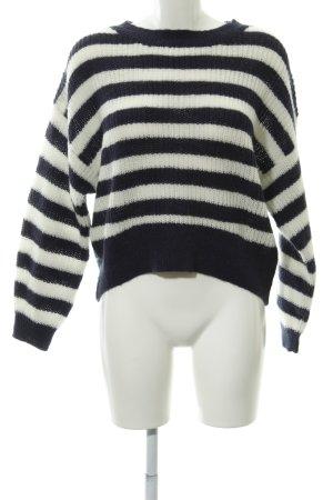H&M L.O.G.G. Strickpullover dunkelblau-weiß Streifenmuster Casual-Look