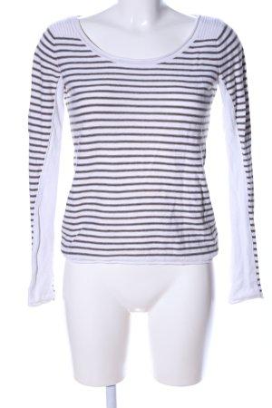 H&M L.O.G.G. Strickpullover weiß-braun Streifenmuster Casual-Look