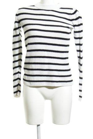H&M L.O.G.G. Strickpullover weiß-schwarz Ringelmuster Casual-Look