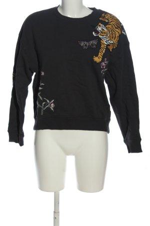 H&M L.O.G.G. Sweatshirt schwarz Motivdruck Casual-Look