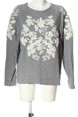 H&M L.O.G.G. Sweatshirt hellgrau-weiß Blumenmuster Casual-Look