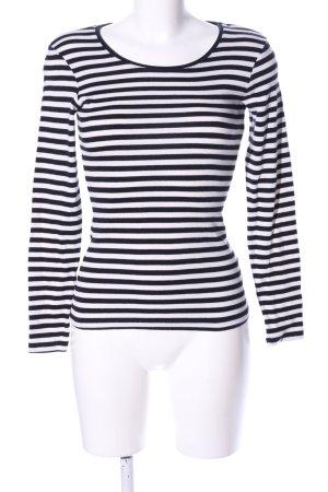 H&M L.O.G.G. Sweatshirt weiß-schwarz Streifenmuster Casual-Look