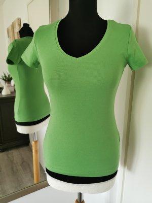 H&M L.o.g.g T-Shirt Apfelgrün V-Ausschnitt Gr. S