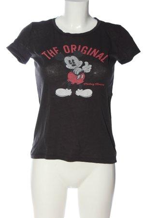 H&M L.O.G.G. T-Shirt schwarz-pink Motivdruck Casual-Look